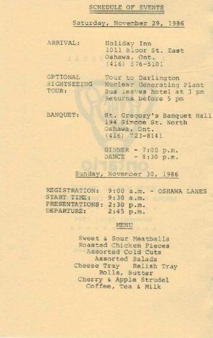 1986 Schedule of Events